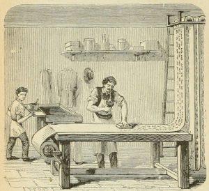 Tapeedi valmistamine. Gravüür 19. sajandist.