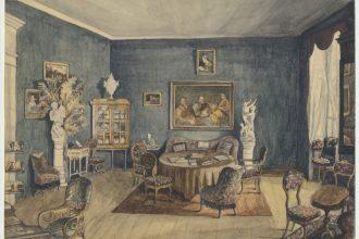 Anna von Krüdener. Uue-Suislepa mõisa elutoa interjöör. 1887. Akvarell. Viljandi Muuseum.