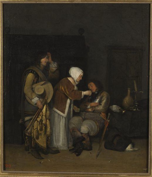 Gerard ter Borch II (1617–1681) ateljee. Kiri magavale sõdurile. U 1656–1660. Õli. Eesti Kunstimuuseum – Kadrioru kunstimuuseum.