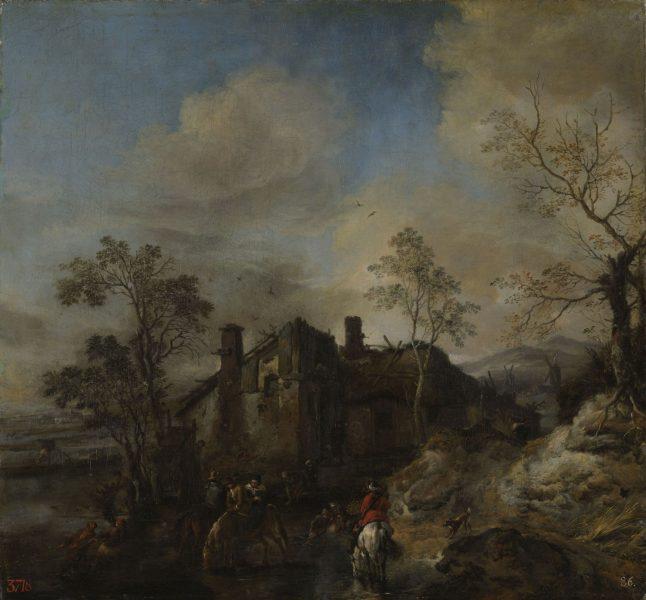 Philips Wouwerman(1619–1668). Hobuste jootmine. 1655–1660. Õli. Eesti Kunstimuuseum – Kadrioru kunstimuuseum.