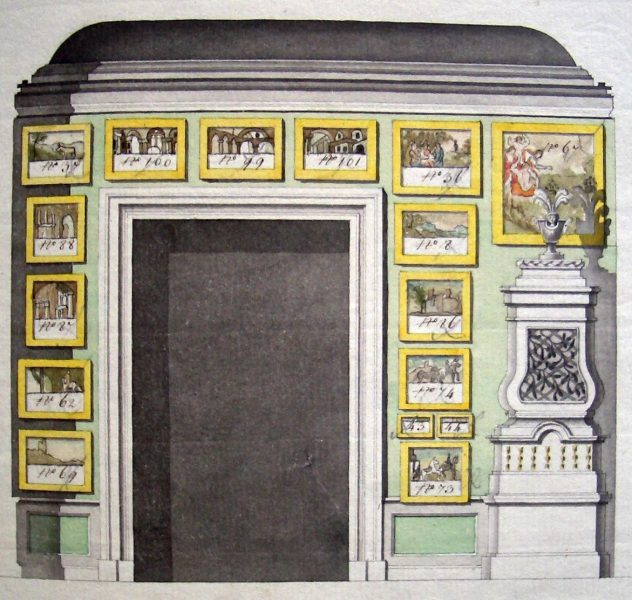Galeriisein Marmorpalees Peterburis. 1786. Akvarell. Venemaa Riiklik Ajalooarhiiv (RGIA).