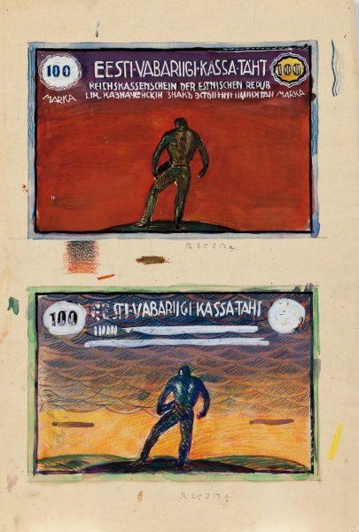 Kristjan Raud (1865–1943). Sada Eesti marka. Rahatähe kavandid.